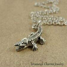 Silver Alligator Necklace - Crocodile Lizard Reptile Charm Pendant NEW