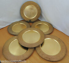 "Lot of 6 Gold Seed Bead Charger Plates 13"" Table Decoration"