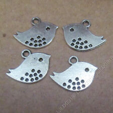 30x Charms 2-Sided Little Bird Animal Pendant Beads Findings Tibetan Silver S512