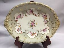 Antique Porcelain Hand Painted Cake Display Plate  ENGLAND