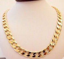 "95g HEAVY 12.5MM 18K Gold Filled Men's Necklace 22"" Chain Set"