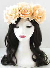 Grand Pêche Rose Fleur Cheveux Couronne Lana del Rey Bandeau Vintage T81