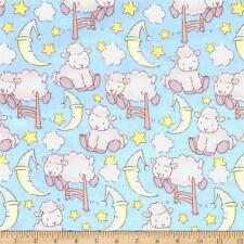 Fabric Baby Bedtime Sheep on Flannel by the 1/4 yard BIN