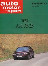 Audi A8 2.8 Test Sonderdruck ams 9/94 Auto PKWs Deutschland Europa Verkehr 1994