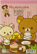 Rilakkuma Type-A Coloring book with Sticker Postcard Size 16 Sheets San-X Japan