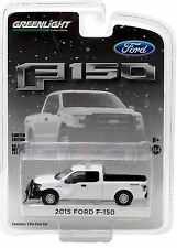 1:64 GreenLight *HOBBY EXCLUSIVE* White 2015 Ford F150 Pickup Truck w/SNOWPLOW