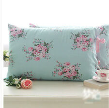 Shabby Chic Cottage Country Blue Floral Pink Check with Ties Pillow Case Sham
