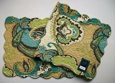 "C&F KASBAH Quilted Cotton Table Runner 14"" x 51"" Teal Blue Green Tan Paisley"