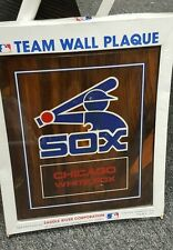 VINTAGE CHICAGO WHITE SOX 14 BY 24 INCH WOOD WALL PLAQUE, NEW OLD STOCK.