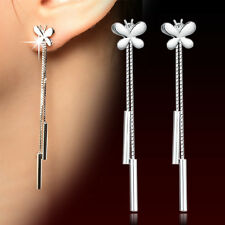 Womens 925 Sterling Silver long Tassel Butterfly Ear Chain/Link Stud Earrings