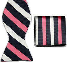 BT029 Black White Striped Men's Self Bow Tie Wedding Bowtie + Handkerchief