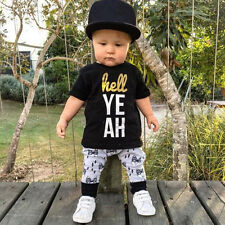 Newborn Toddler Kids Baby Boys Outfits Clothes T-shirt Tops+Pants 2PCS Set 80