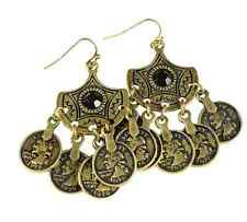 Burnished Gold Coins Drop Fashion Earrings w/ Faceted Black Stone
