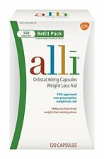 4 Pack - alli Weight Loss Aid Orlistat 60 mg Capsules,Refill Pack 120 Count Each