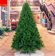 Deluxe 7FT/210cm Green Artificial Christmas Trees with Metal Stand Xmas Decor