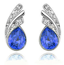 Royal Dark Blue Crystal Angel Wings Silver Studs Earrings Rhinestone E588
