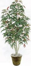 ARTIFICIAL RED MANGO TREE SILK 5ft PLANT IN BASKET BUSH PATIO FLOWER PALM FLORAL