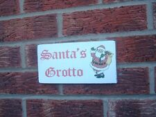 shabby vintage chic christmas santa's grotto sign wooden hanging plaque