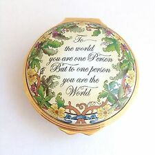 HALCYON DAYS ENGLAND Messages 'TO THE WORLD' Handcrafted Enamel Pill Box
