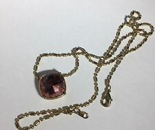 La Mer Collections Purple Crystal Charm 14K Gold Plated Necklace PERFECT GIFT!!