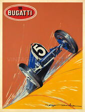 BUGATTI, 1924 Vintage RACING Automobile Art Deco Reproduction Canvas Print 20x26