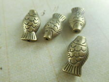 12 Antique Brass Plated Long Fish Beads Findings 48140p