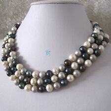 "50"" 7-9mm White Gray Peacock Freshwater Pearl Necklace"