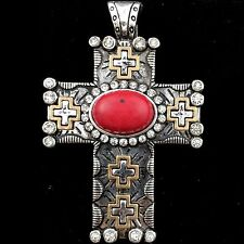 Western Cowgirl Rhinestone Red/Silver Duo Color Cross Magnetic Closure Pendant