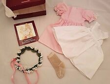 AMERICAN GIRL DOLL KIRSTEN APRON DRESS DAISY WREATH! BIRTHDAY OUTFIT EUC
