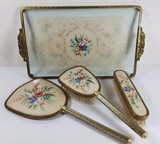 VINTAGE PINK PETIT POINT EMBROIDERY HAIR CLOTHES BRUSH MIRROR VANITY SET & TRAY