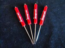 FOUR NEW Snap on *ORIGINAL* RED FLAT TIP MAGNETIC END POCKET SCREWDRIVER SET