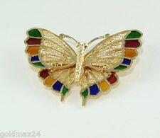 Edle Brosche  - Schmetterling / 585er - 14 Karat Gelbgold