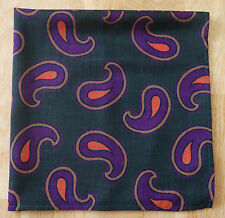 "GREEN PAISLEY WOOL & SILK NECKERCHIEF 25"" SQUARE. NEW HAND MADE"