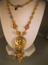 "KIRKS FOLLY VERY CHARMING ""NECKLACE W/STARS/HEARTS & PINK STONES"" GORGEOUS #5 N"