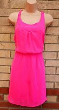H&M NEON PINK CROSSED BACK A LINE SKATER SUMMER TEA RARE DRESS 12 M