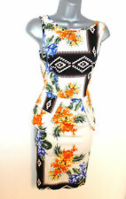 Stunning River Island Floral Aztec Print Peplum Evening Occasion Dress 14