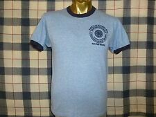 VINTAGE 80s FLORIDA POWER HEATHER BLUE RAYON TRI BLEND RINGER t shirt S