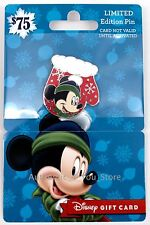 NEW Disney 2016 Christmas Mitten Mickey Mouse LE 2650 Pin w/ No Value Gift Card