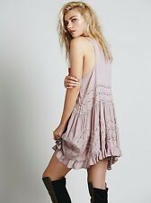 Intimately FREE PEOPLE Voile and Lace Trapeze Slip Dress Size Small- Misty Pink