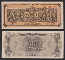 Grecia - Greece  200 Drachmai  9-9-1944  Pick 131a1   SC = UNC