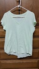 EILEEN FISHER  Organic Cotton Hi-lo Tee  sz Petite Large Baby Lime Green