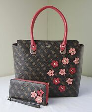 Guess Brown Signature Liya Floral Applique Tote + Zip Around Wallet