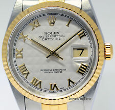 Rolex Datejust 18k Yellow Gold & Stainless Steel Pyramid Dial Mens Watch 16233