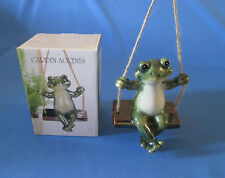 Garden Accents Ornament Frog Sitting On A Swing Indoor Outdoor Yard Home Decor