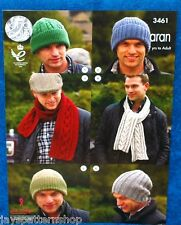 Mans Ladies Childs Aran Knit Assorted Hats Scarves Knitting Pattern 7 - Adult