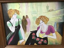 ORIGINAL OIL PAINTING BY BARTON LADIES WAITING ONE W/ BOOK CONTEMPORARY MODERN