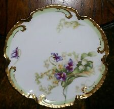 Limoges France Coronet Plate Violets Lily Heavy Gold Mint (6-Available)