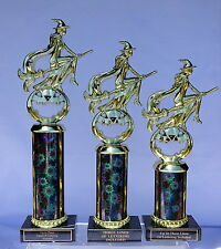 SET OF THREE HALLOWEEN TROPHIES WITCH /BROOM TROPHY   5-4-3 FREE LETTERING