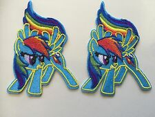 2pcs My Little Pony Rainbow Dash Embroidered Iron/Sew ON Patches *FREE STICKER*