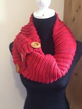 RED BUTTON LONG INFINITY SNOOD OR SCARF Rrp £18